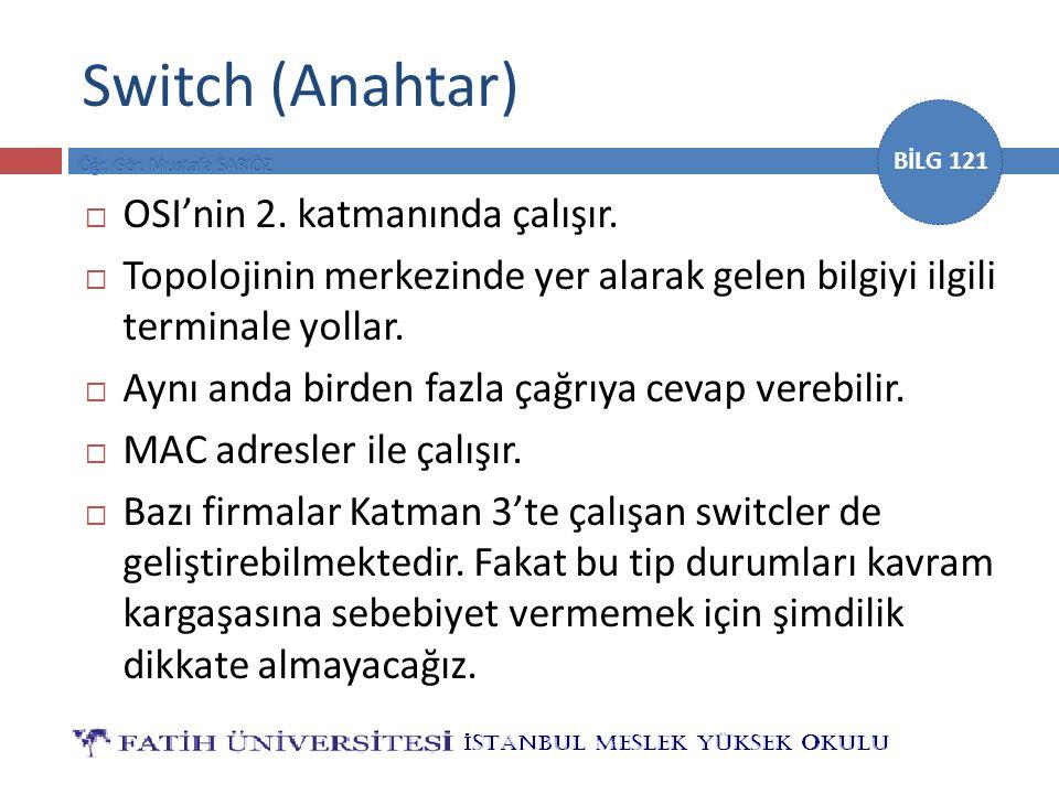 Switch (Anahtar) OSI'nin 2. katmanında çalışır.