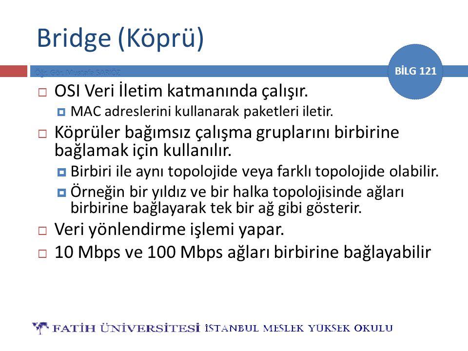 Bridge (Köprü) OSI Veri İletim katmanında çalışır.