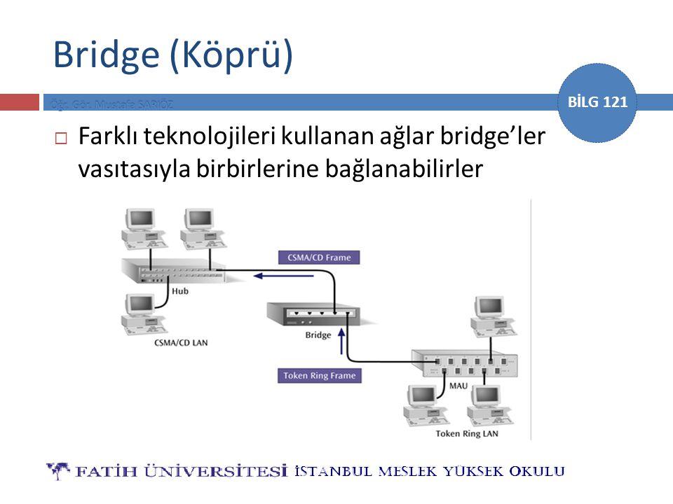 Bridge (Köprü) Farklı teknolojileri kullanan ağlar bridge'ler vasıtasıyla birbirlerine bağlanabilirler.