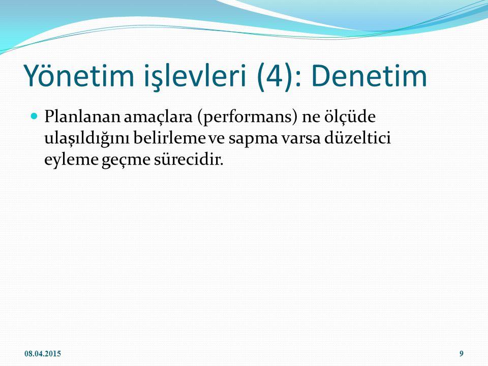 Yönetim işlevleri (4): Denetim