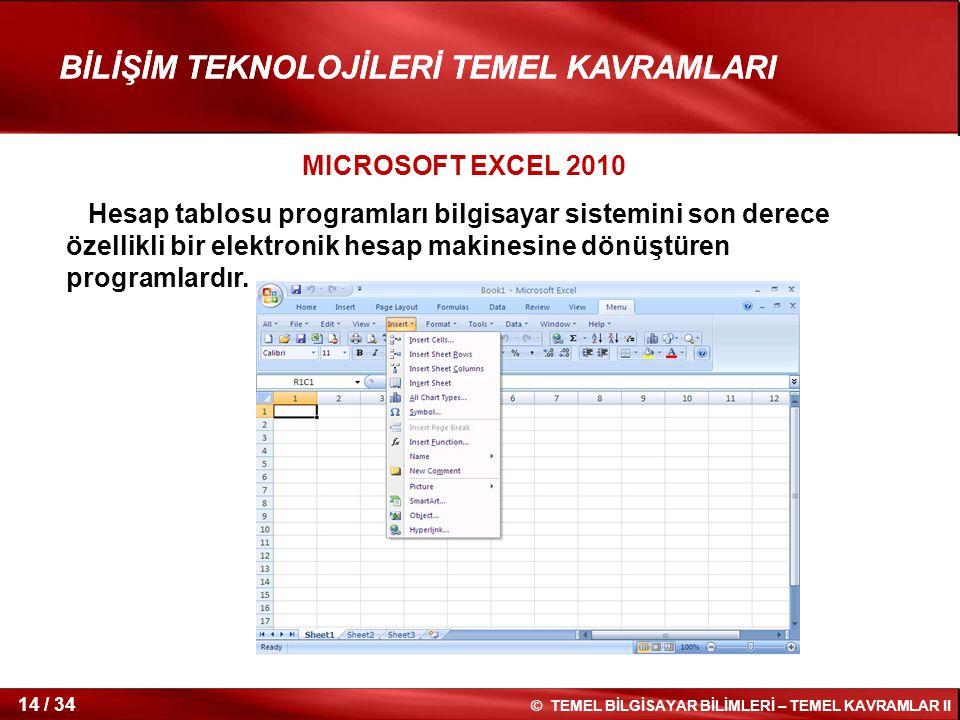 MICROSOFT EXCEL 2010 Hesap tablosu programları bilgisayar sistemini son derece özellikli bir elektronik hesap makinesine dönüştüren programlardır.