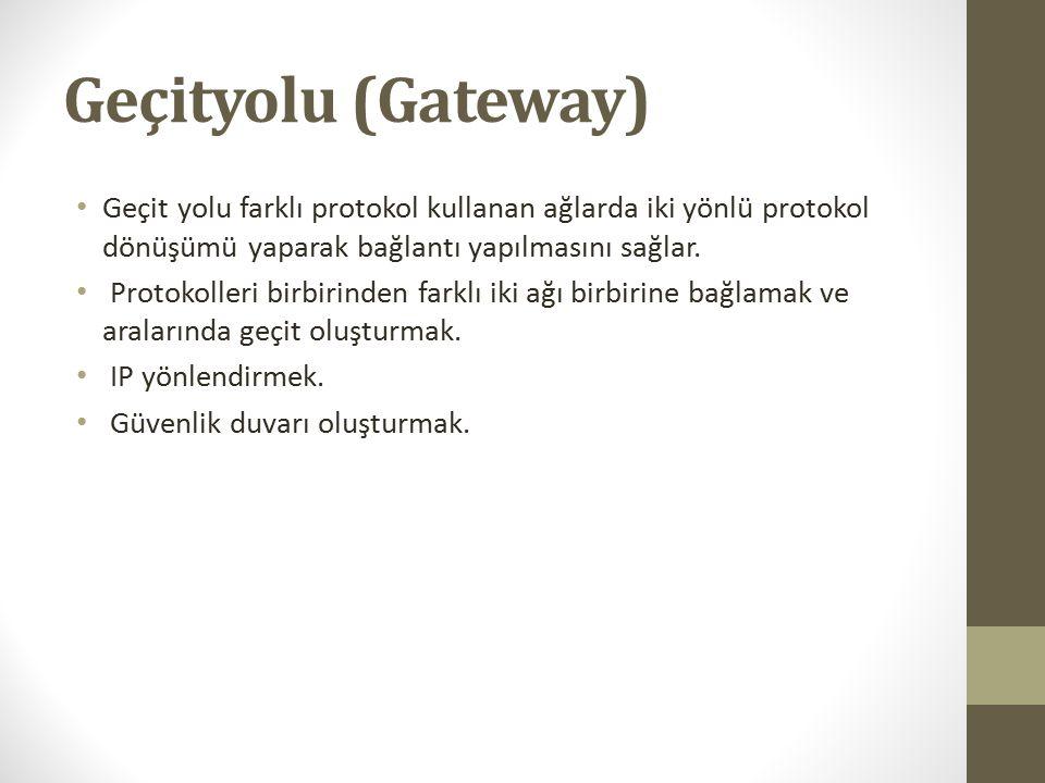 Geçityolu (Gateway) Geçit yolu farklı protokol kullanan ağlarda iki yönlü protokol dönüşümü yaparak bağlantı yapılmasını sağlar.