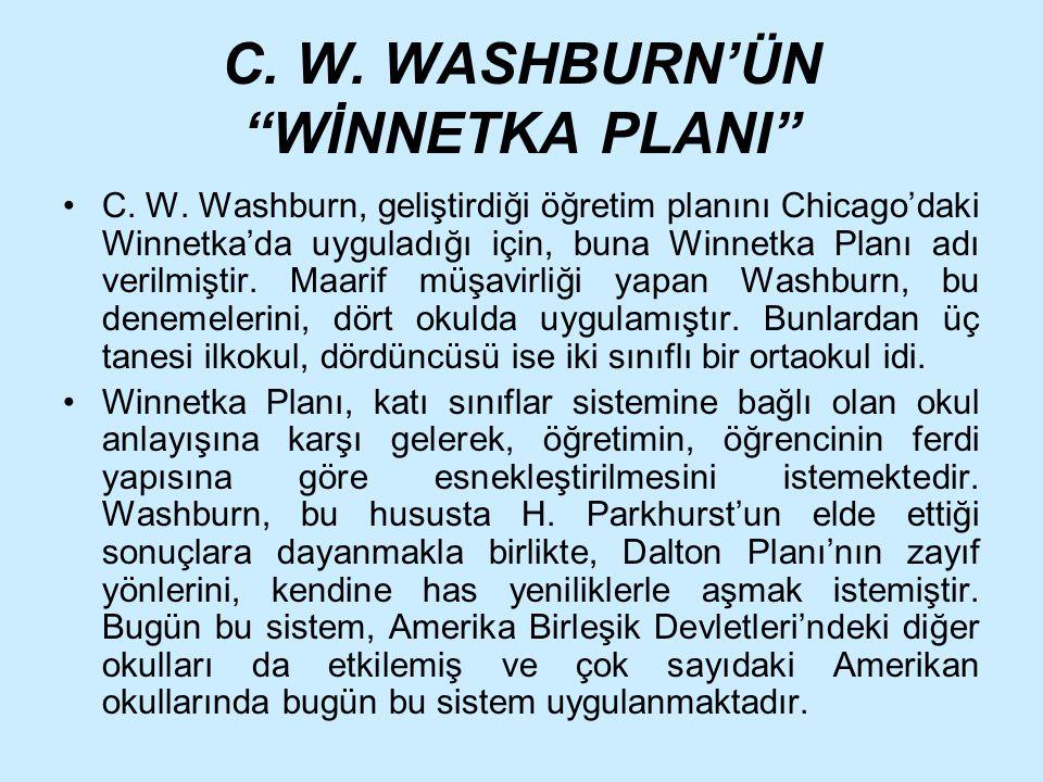 C. W. WASHBURN'ÜN WİNNETKA PLANI
