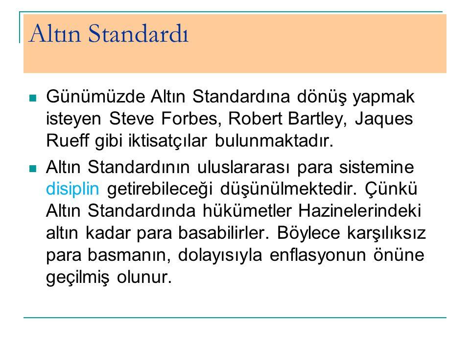 Altın Standardı Günümüzde Altın Standardına dönüş yapmak isteyen Steve Forbes, Robert Bartley, Jaques Rueff gibi iktisatçılar bulunmaktadır.