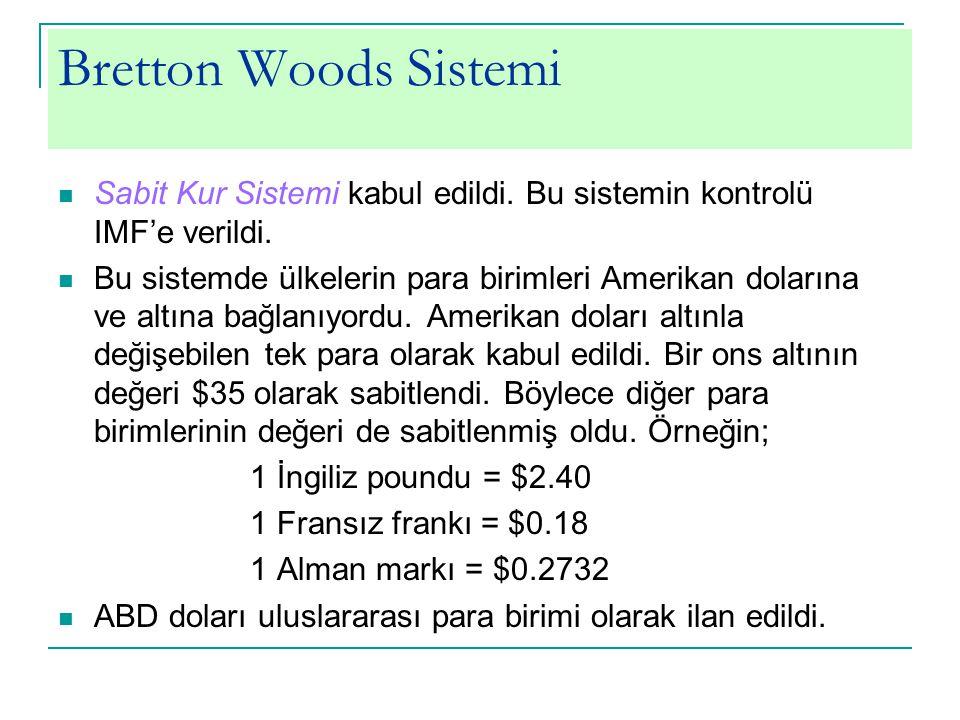 Bretton Woods Sistemi Sabit Kur Sistemi kabul edildi. Bu sistemin kontrolü IMF'e verildi.