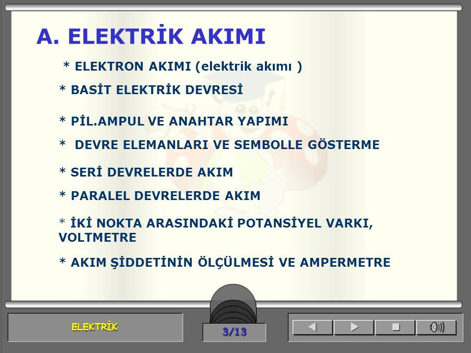 A. ELEKTRİK AKIMI * ELEKTRON AKIMI (elektrik akımı )