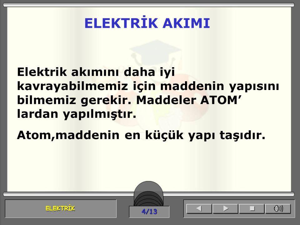 ELEKTRİK AKIMI Elektrik akımını daha iyi kavrayabilmemiz için maddenin yapısını bilmemiz gerekir. Maddeler ATOM' lardan yapılmıştır.
