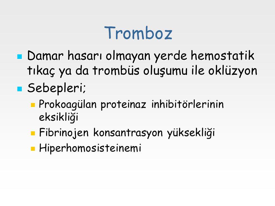 Tromboz Damar hasarı olmayan yerde hemostatik tıkaç ya da trombüs oluşumu ile oklüzyon. Sebepleri;