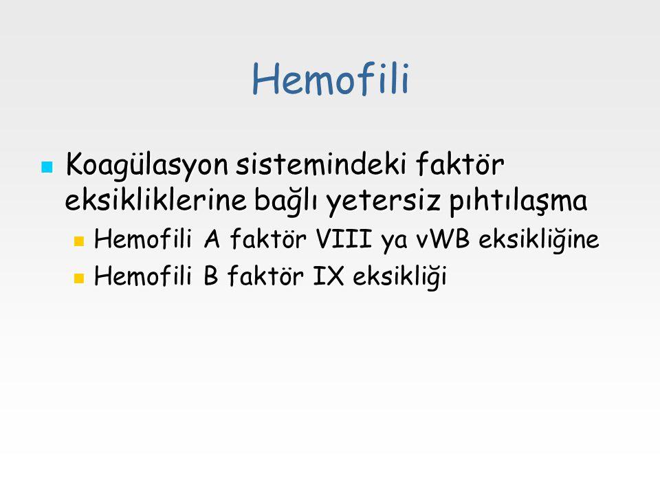 Hemofili Koagülasyon sistemindeki faktör eksikliklerine bağlı yetersiz pıhtılaşma. Hemofili A faktör VIII ya vWB eksikliğine.
