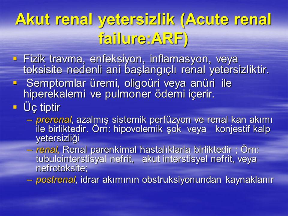 Akut renal yetersizlik (Acute renal failure:ARF)