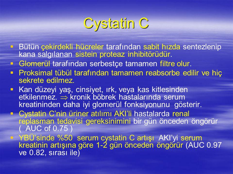 Cystatin C Bütün çekirdekli hücreler tarafından sabit hızda sentezlenip kana salgılanan sistein proteaz inhibitörüdür.