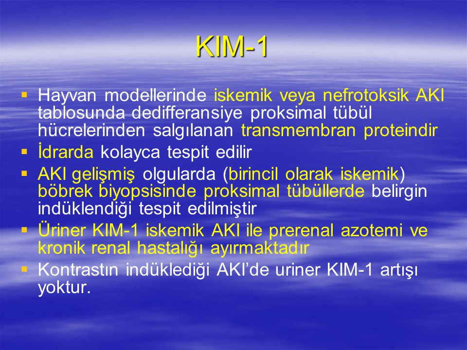 KIM-1 Hayvan modellerinde iskemik veya nefrotoksik AKI tablosunda dedifferansiye proksimal tübül hücrelerinden salgılanan transmembran proteindir.
