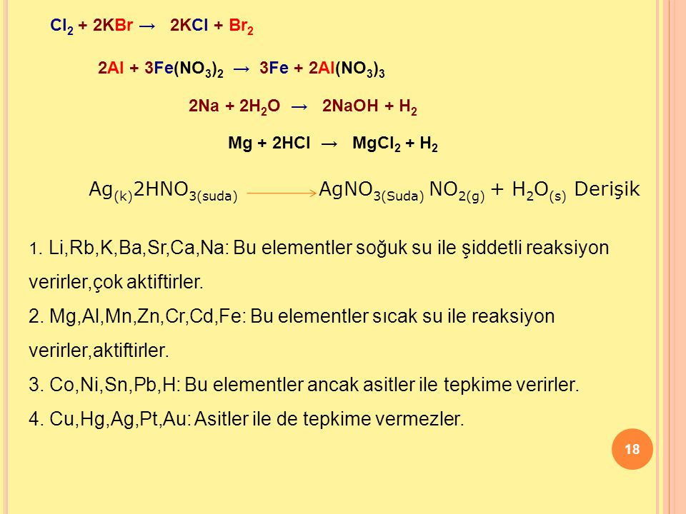 Ag(k)2HNO3(suda) AgNO3(Suda) NO2(g) + H2O(s) Derişik