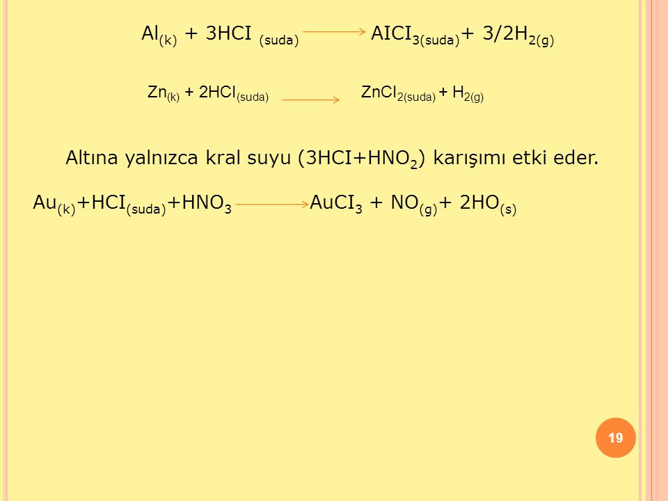 Al(k) + 3HCI (suda) AICI3(suda)+ 3/2H2(g)
