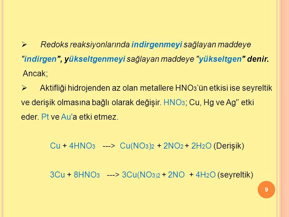 Redoks reaksiyonlarında indirgenmeyi sağlayan maddeye indirgen , yükseltgenmeyi sağlayan maddeye yükseltgen denir.