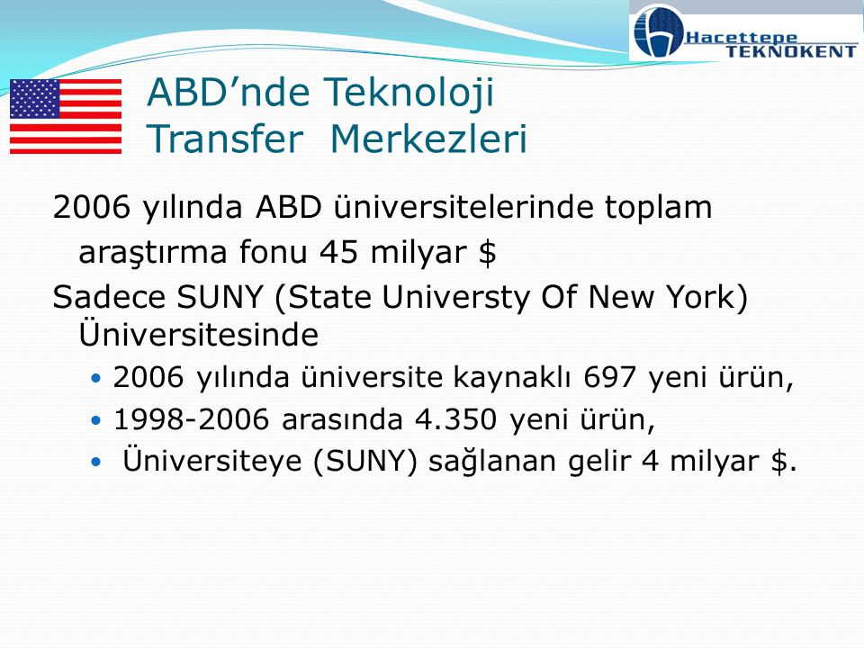 ABD'nde Teknoloji Transfer Merkezleri
