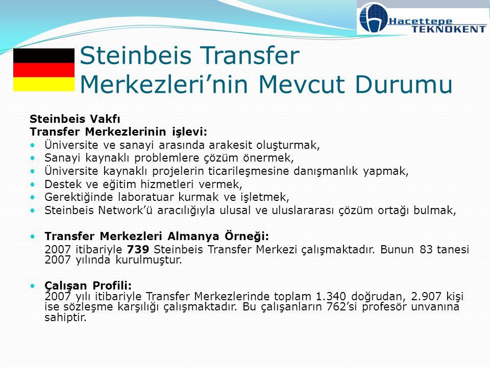 Steinbeis Transfer Merkezleri'nin Mevcut Durumu