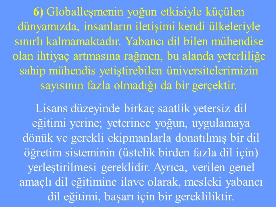 6) Globalleşmenin yoğun etkisiyle küçülen dünyamızda, insanların iletişimi kendi ülkeleriyle sınırlı kalmamaktadır. Yabancı dil bilen mühendise olan ihtiyaç artmasına rağmen, bu alanda yeterliliğe sahip mühendis yetiştirebilen üniversitelerimizin sayısının fazla olmadığı da bir gerçektir.