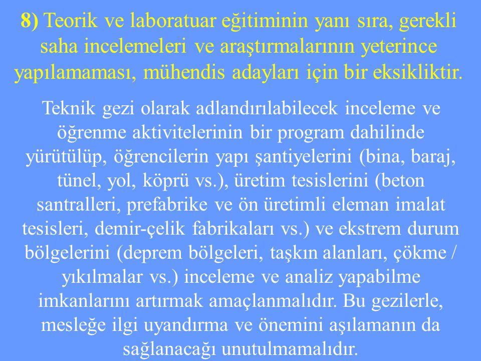 8) Teorik ve laboratuar eğitiminin yanı sıra, gerekli saha incelemeleri ve araştırmalarının yeterince yapılamaması, mühendis adayları için bir eksikliktir.