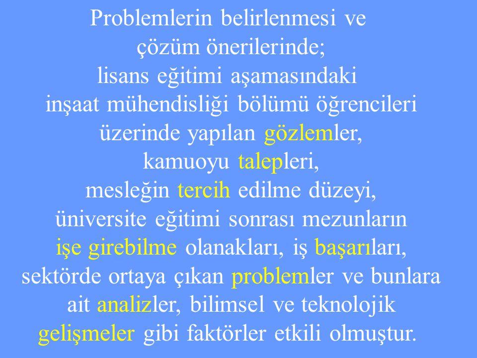 Problemlerin belirlenmesi ve çözüm önerilerinde;