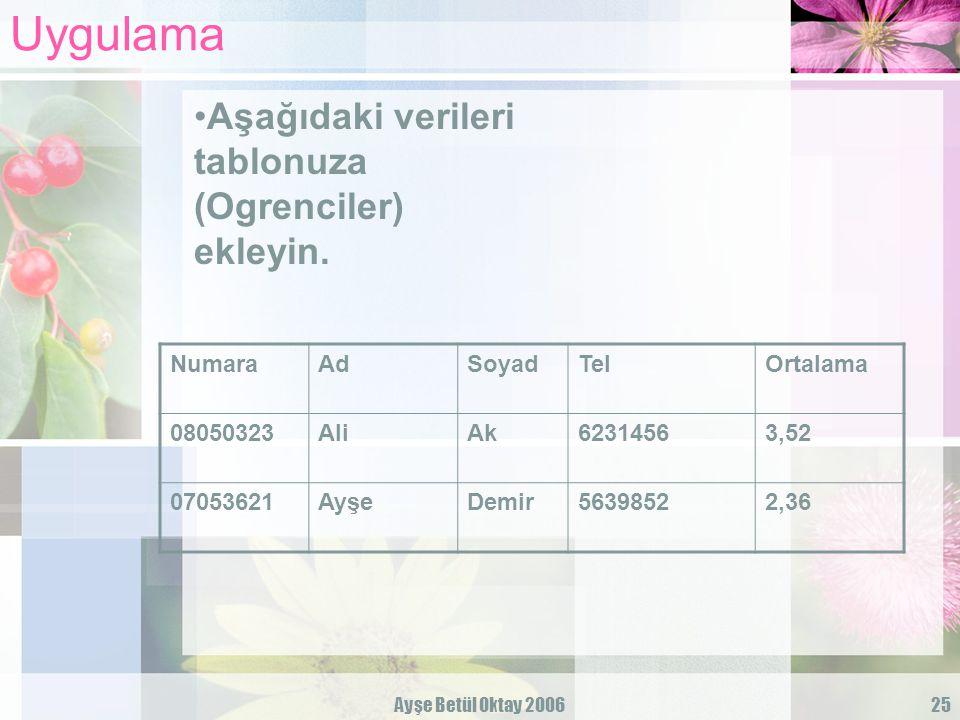 Uygulama Aşağıdaki verileri tablonuza (Ogrenciler) ekleyin. Numara Ad
