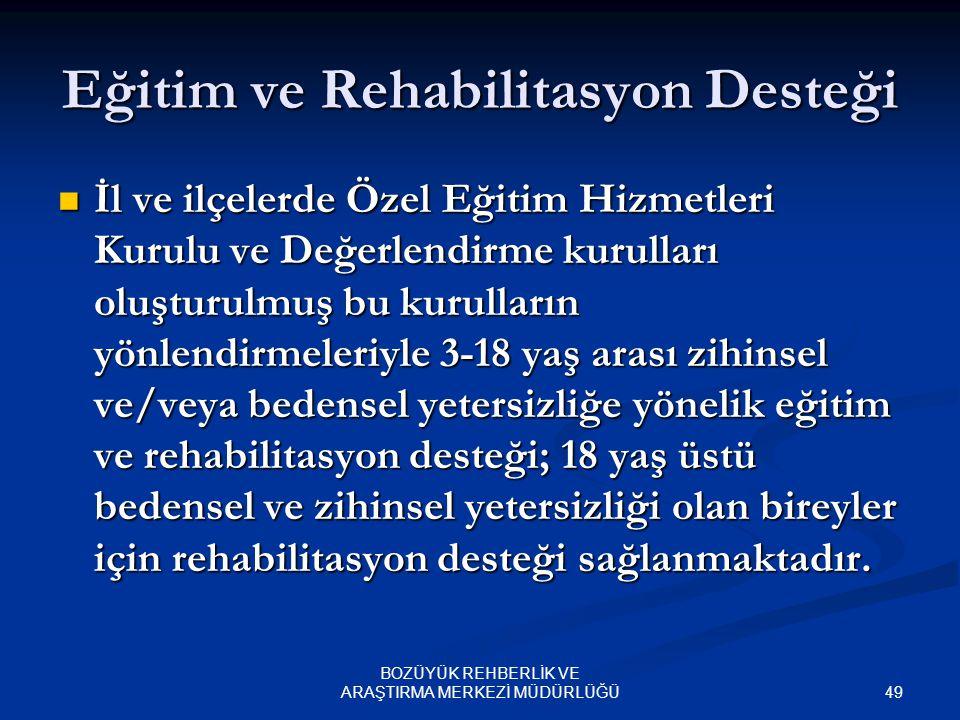 Eğitim ve Rehabilitasyon Desteği