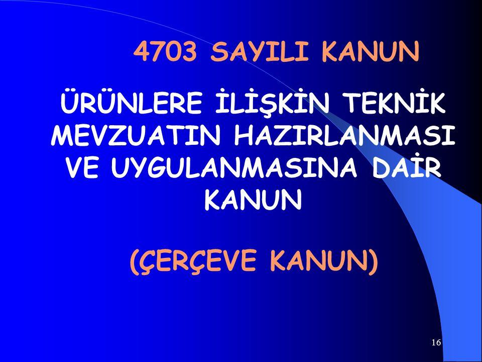 4703 SAYILI KANUN ÜRÜNLERE İLİŞKİN TEKNİK MEVZUATIN HAZIRLANMASI VE UYGULANMASINA DAİR KANUN.