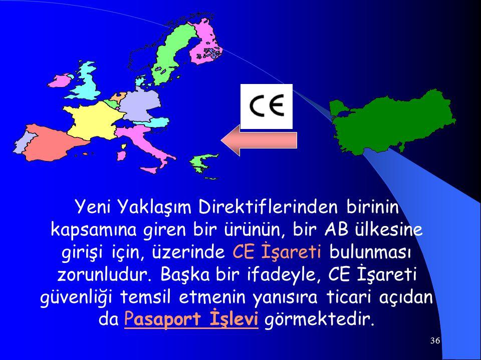 Yeni Yaklaşım Direktiflerinden birinin kapsamına giren bir ürünün, bir AB ülkesine girişi için, üzerinde CE İşareti bulunması zorunludur.