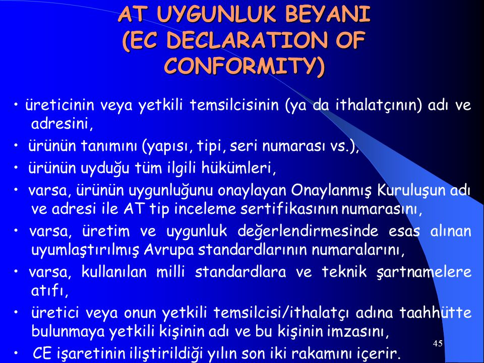 AT UYGUNLUK BEYANI (EC DECLARATION OF CONFORMITY)