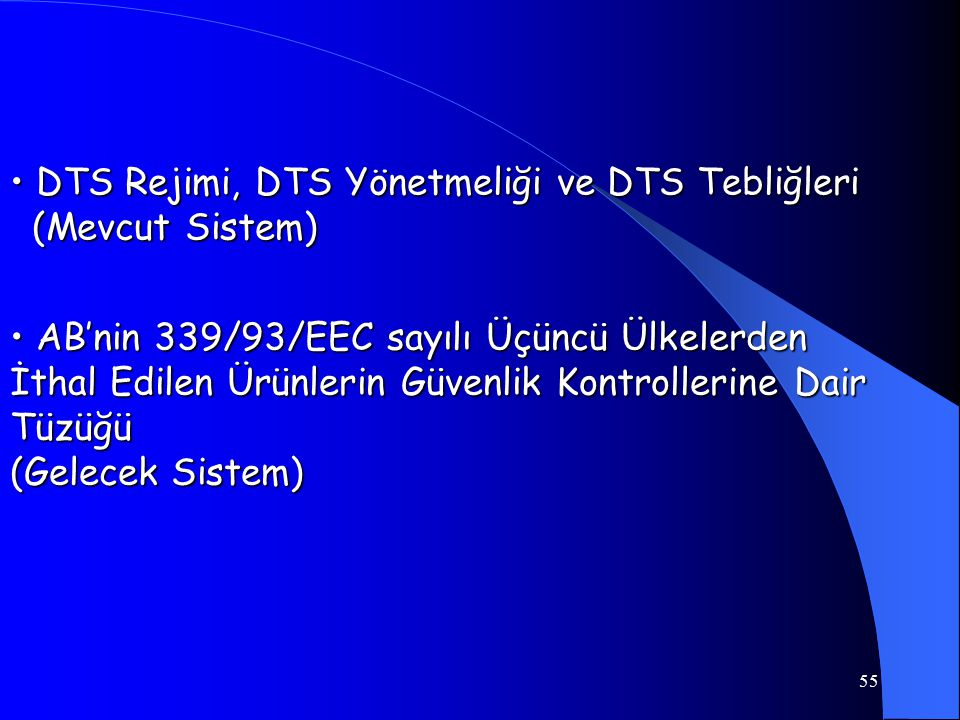 • DTS Rejimi, DTS Yönetmeliği ve DTS Tebliğleri (Mevcut Sistem)