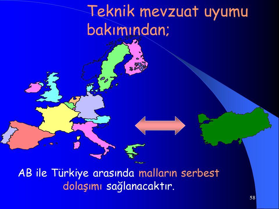 AB ile Türkiye arasında malların serbest dolaşımı sağlanacaktır.