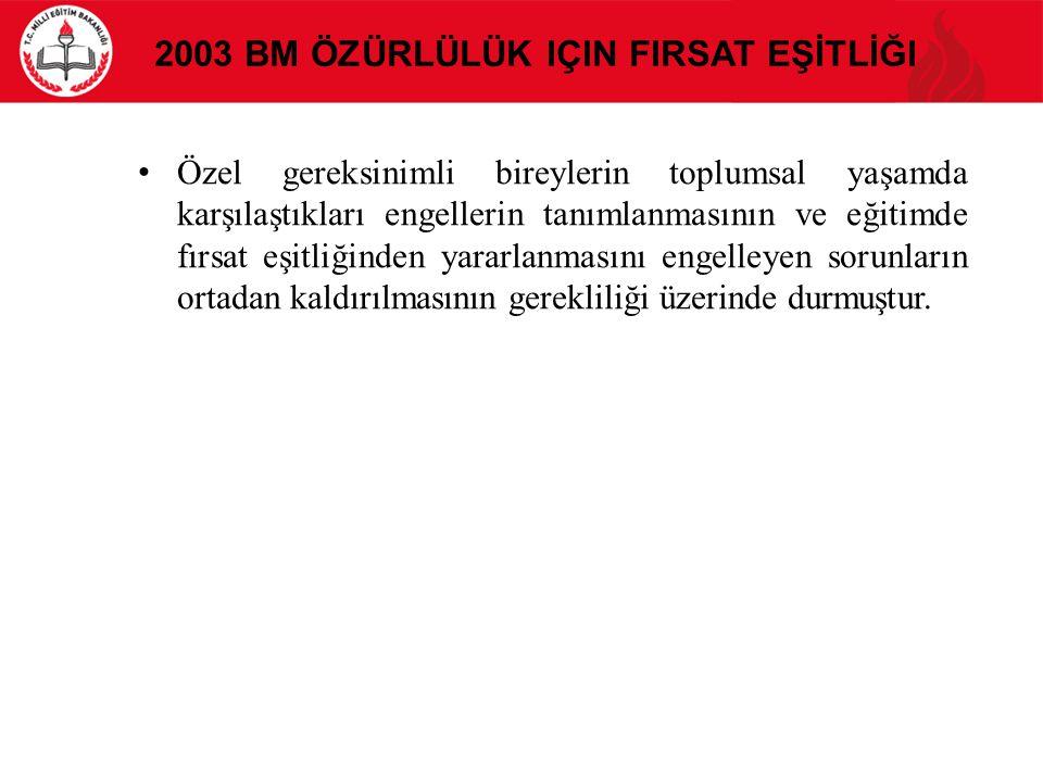 2003 BM Özürlülük için FIrsat Eşİtlİği