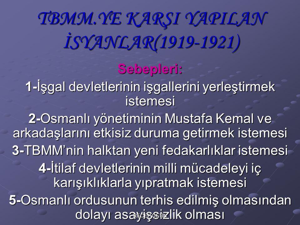 TBMM.YE KARŞI YAPILAN İSYANLAR(1919-1921)