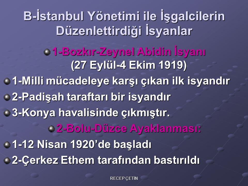 B-İstanbul Yönetimi ile İşgalcilerin Düzenlettirdiği İsyanlar