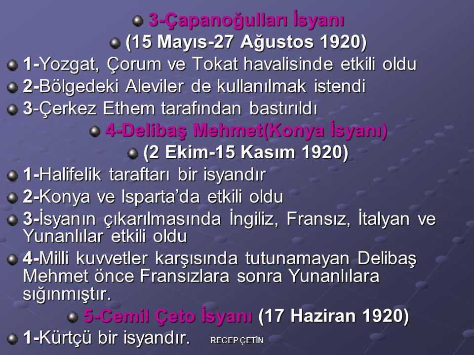 3-Çapanoğulları İsyanı (15 Mayıs-27 Ağustos 1920)