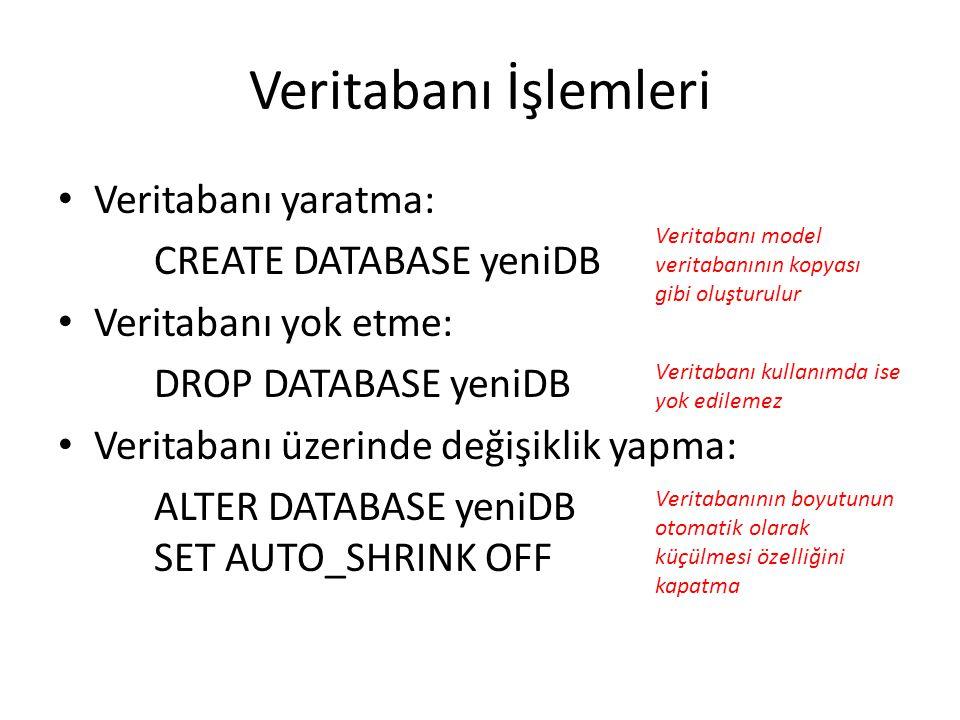 Veritabanı İşlemleri Veritabanı yaratma: CREATE DATABASE yeniDB