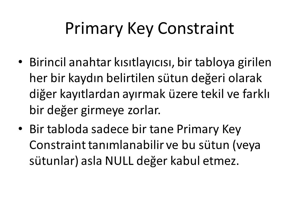 Primary Key Constraint