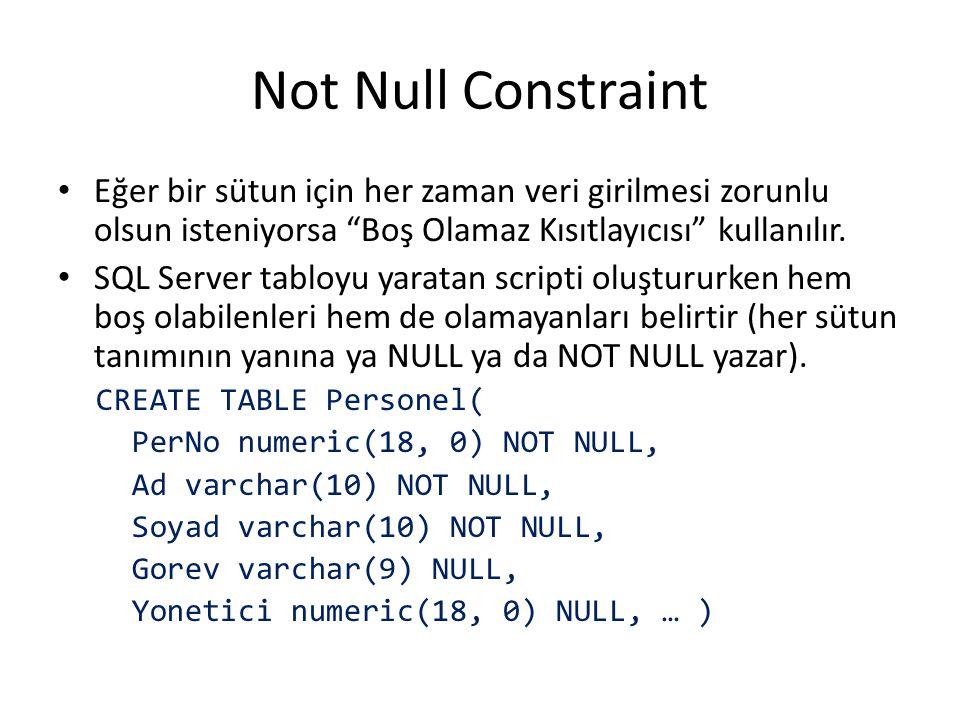 Not Null Constraint Eğer bir sütun için her zaman veri girilmesi zorunlu olsun isteniyorsa Boş Olamaz Kısıtlayıcısı kullanılır.