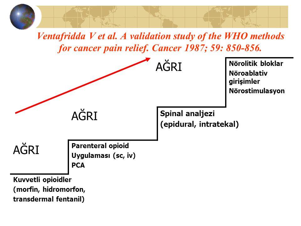 Ventafridda V et al. A validation study of the WHO methods for cancer pain relief. Cancer 1987; 59: 850-856.