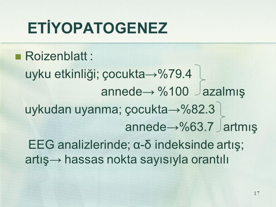 ETİYOPATOGENEZ Roizenblatt : uyku etkinliği; çocukta→%79.4