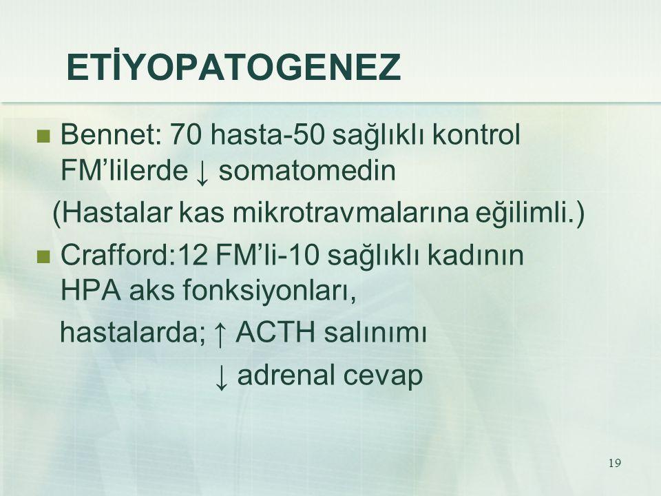 ETİYOPATOGENEZ Bennet: 70 hasta-50 sağlıklı kontrol FM'lilerde ↓ somatomedin. (Hastalar kas mikrotravmalarına eğilimli.)