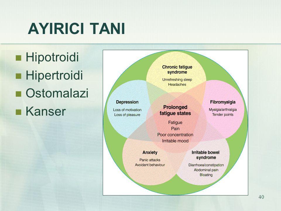 AYIRICI TANI Hipotroidi Hipertroidi Ostomalazi Kanser