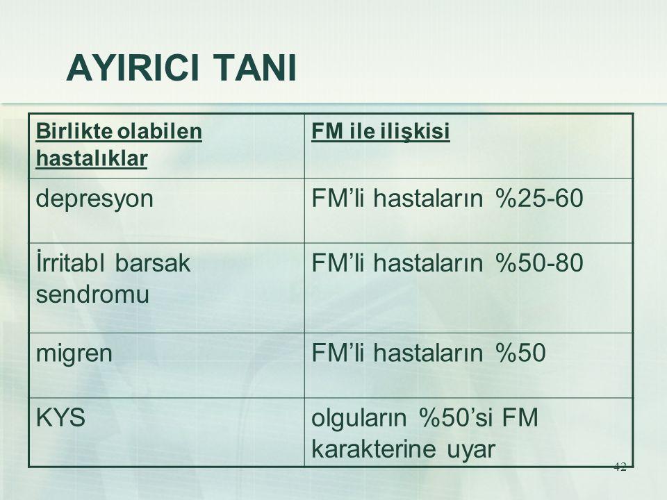 AYIRICI TANI depresyon FM'li hastaların %25-60