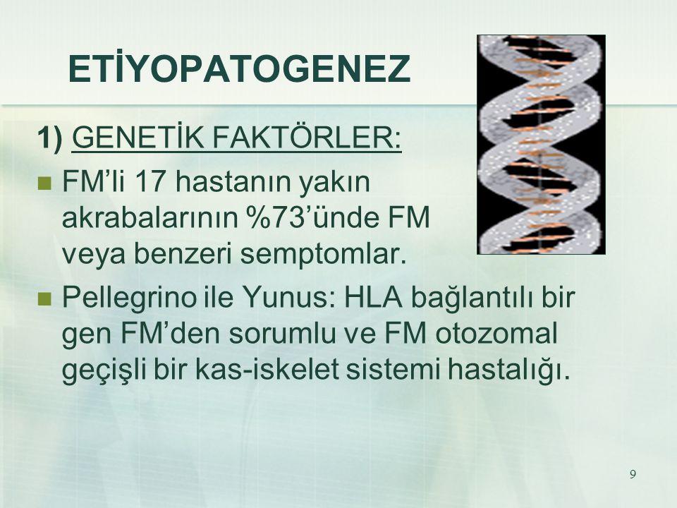 ETİYOPATOGENEZ 1) GENETİK FAKTÖRLER: