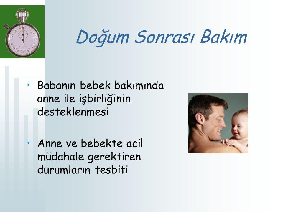 Doğum Sonrası Bakım Babanın bebek bakımında anne ile işbirliğinin desteklenmesi.