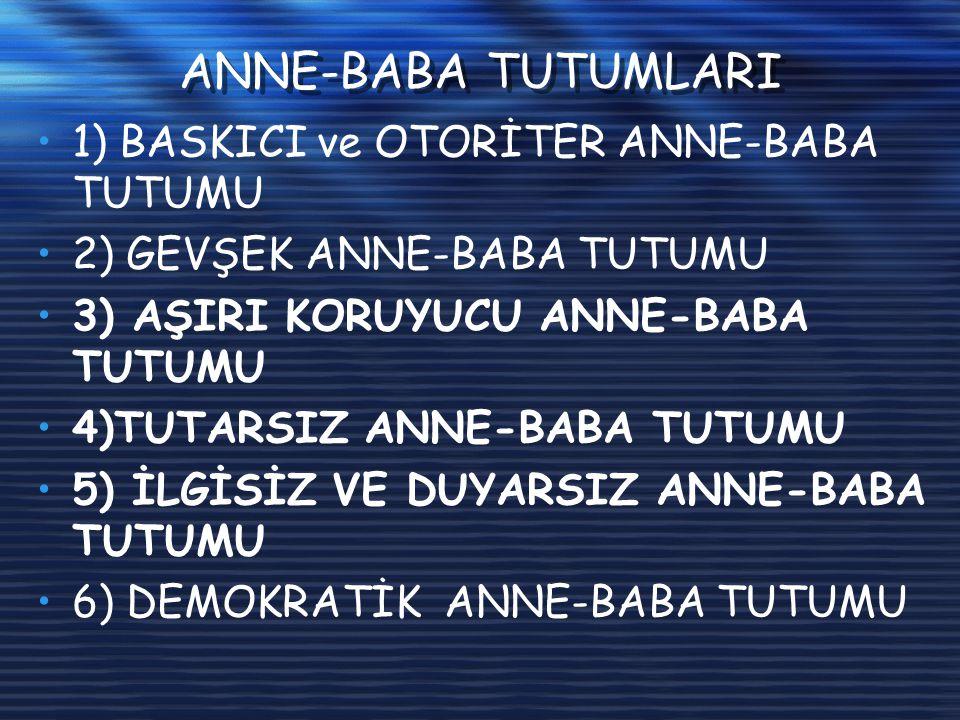 ANNE-BABA TUTUMLARI 1) BASKICI ve OTORİTER ANNE-BABA TUTUMU