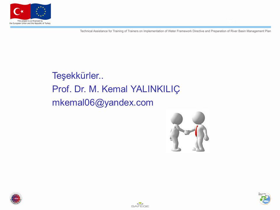 Teşekkürler.. Prof. Dr. M. Kemal YALINKILIÇ mkemal06@yandex.com