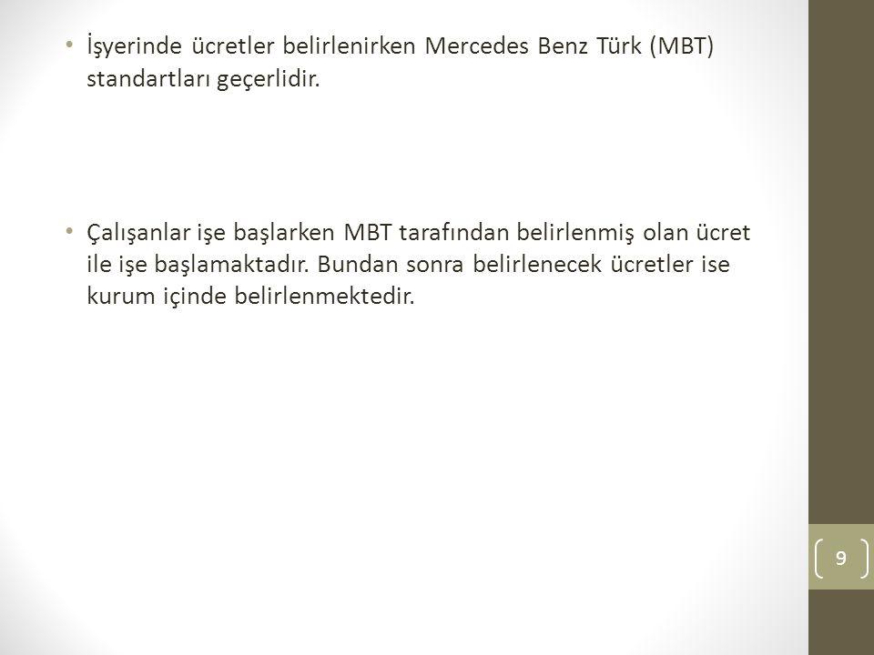 İşyerinde ücretler belirlenirken Mercedes Benz Türk (MBT) standartları geçerlidir.