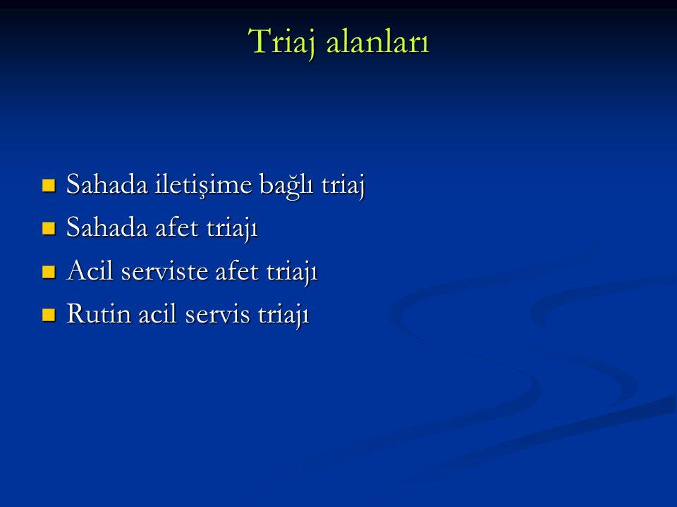 Triaj alanları Sahada iletişime bağlı triaj Sahada afet triajı