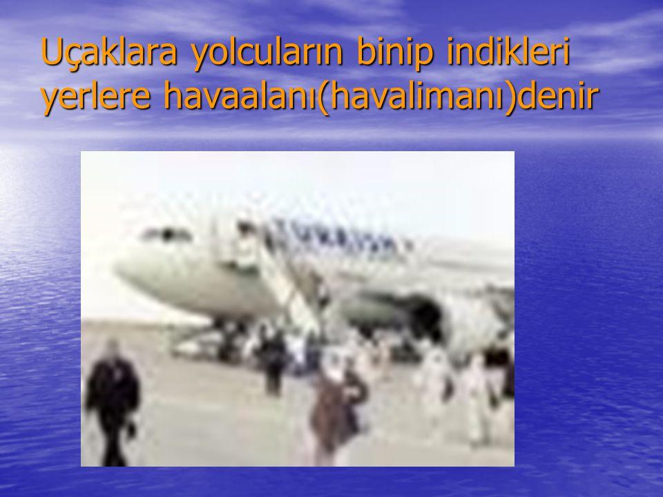 Uçaklara yolcuların binip indikleri yerlere havaalanı(havalimanı)denir